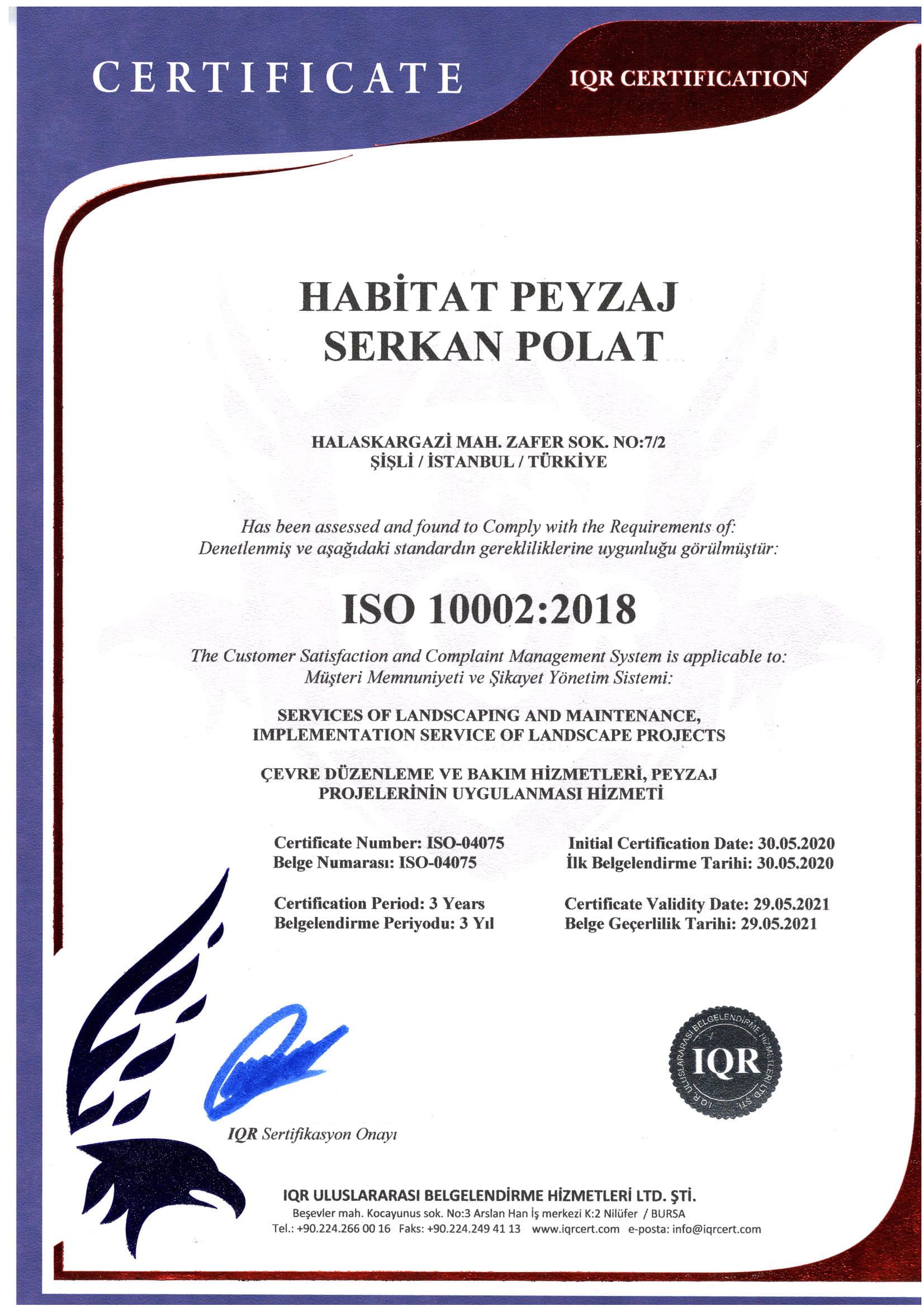 HABİTAT ISO 10002-1